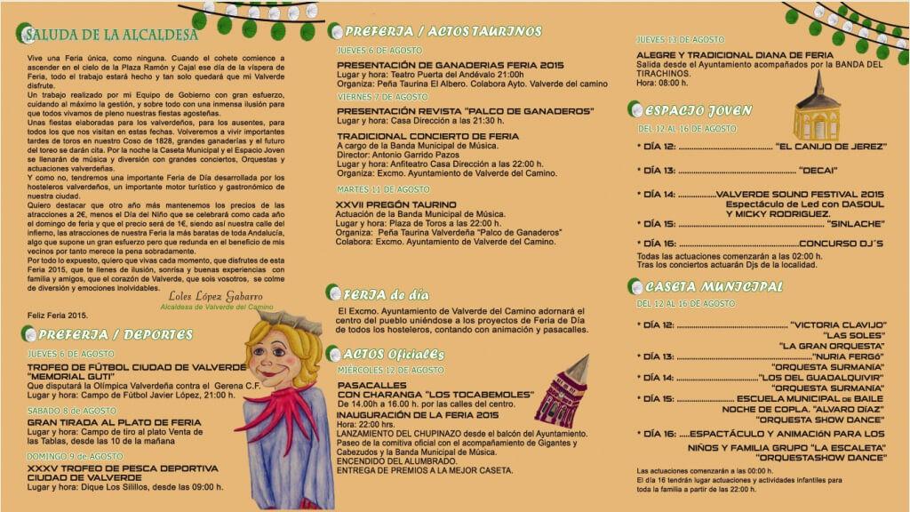 Programación Feria de Valverde del Camino 2015